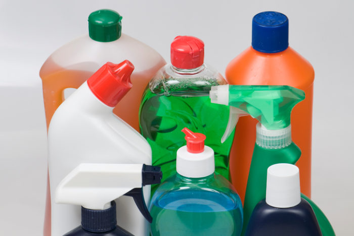 Colorful cleaning products without labels