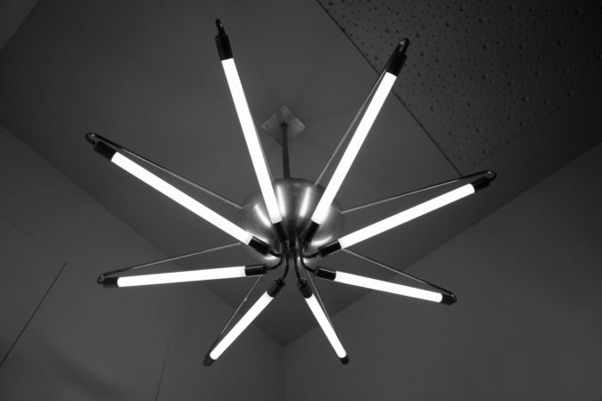 Modern LED strip lamp mounted on ceiling