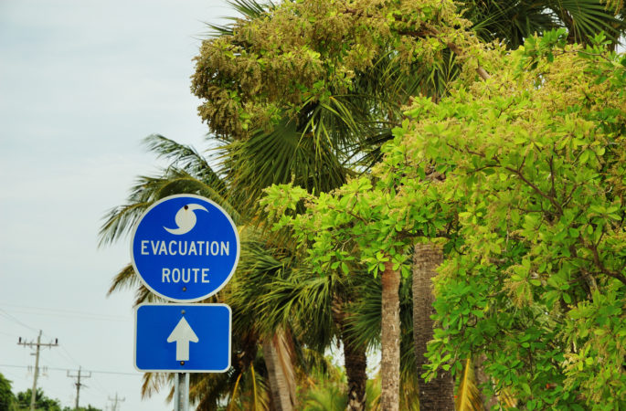 """Hurricane evacuation route road sign on Sanibel Island, Florida.My Personal Collections:"""