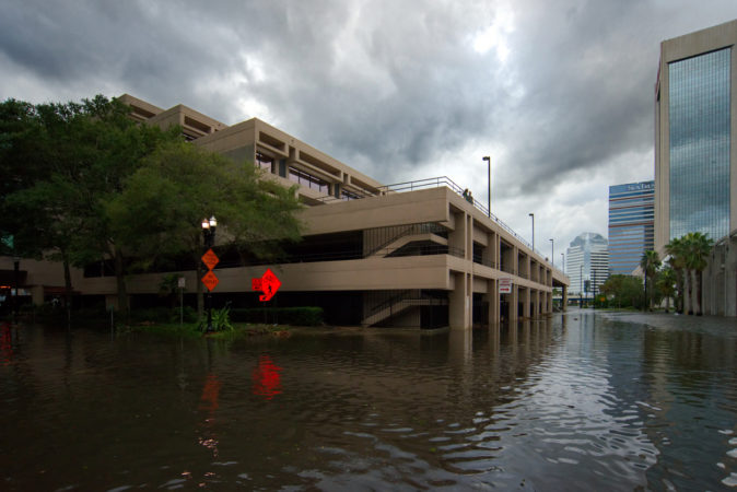 Jacksonville, FL, USA - September 11, 2017; Flood waters engulf a parking garage in downtown Jacksonville, FL after Hurricane Irma took an unexpected turn and caused massive power outages and coastal flooding around the state.