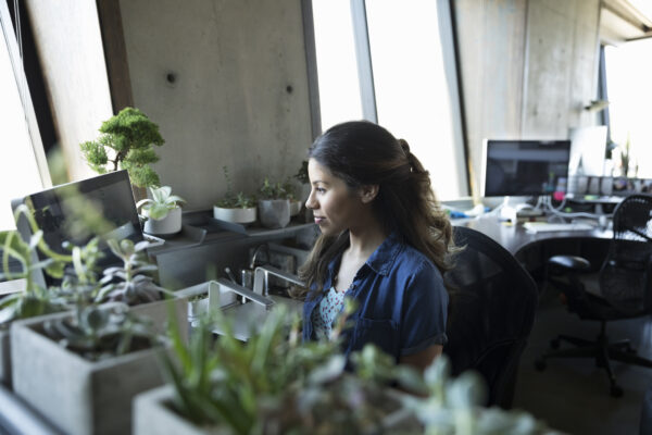 Latina businesswoman working at computer at office desk with potted plants